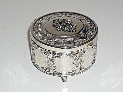 """Silver Plated Circular Footed Trinket Box -- Dia 3.25"""" and Height 2""""--modern"""