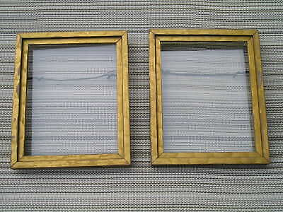 Vintage Pair Art Crafts Aged Wavy Gilt Picture Frames 4 x 5 Nice