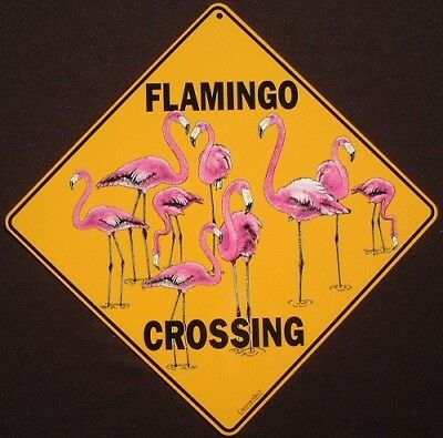 PINK FLAMINGO CROSSING SIGN aluminum  decor birds novelty  picture home signs
