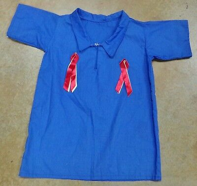 "Native American Boys Blue Collar Ribbon Shirt Med 28"" Chest Seminole Made"