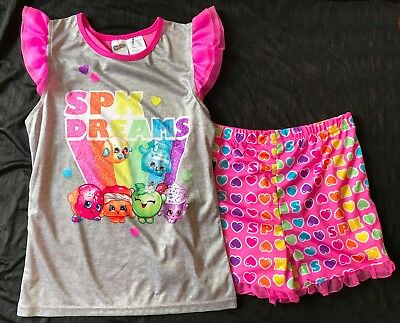 New NWT Shopkins sleep set pajamas girls M 7 8