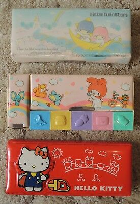 3 Vintage 1976 Sanrio pencil cases: Little Twin Stars, My Melody, Hello Kitty