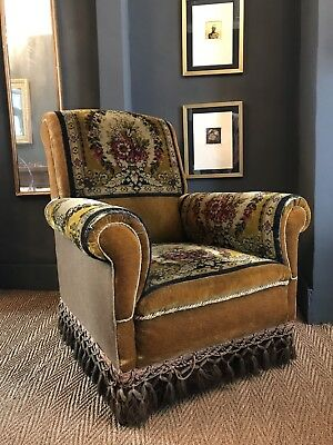 English Early 20th Century Yellow Velvet Country House Chic Carpet Armchair