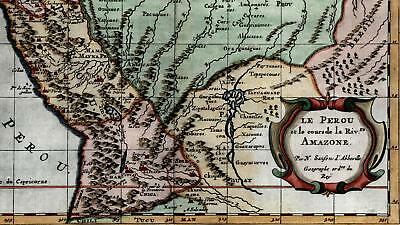 Peru Amazon River mythical lakes South America 1699 Sanson old miniature map A+