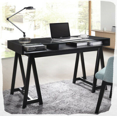Hooper 1200 Black Timber, Glass & Steel Desk  - BRAND NEW
