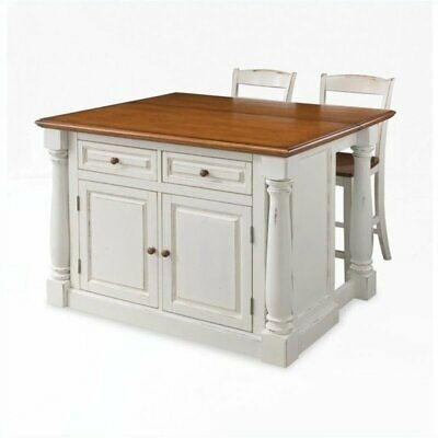 BOWERY HILL KITCHEN Island with Two Stools in Distressed Oak ...
