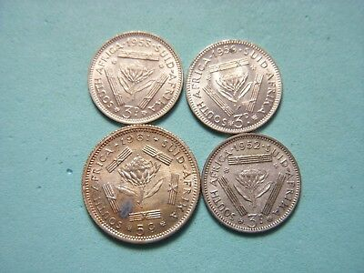 (4) South Africa Silver Coin Lot.