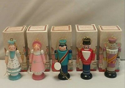 Vintage Lot Of 5 Avon Christmas Wooden Nutcracker Ornaments - 1984