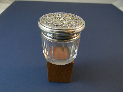 Vintage cut glass vanity jar with Sterling silver cover