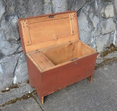 Antique small pine chest from Vermont circa 1750-orig. red milk paint finish
