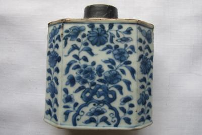 Antique Chinese Early Qing Tea Caddy Blue & White
