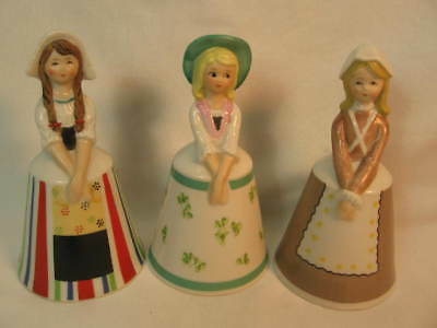 Schmid Bros 3 Bells Girls of the World Porcelain Figurines Ireland, USA,Dutch