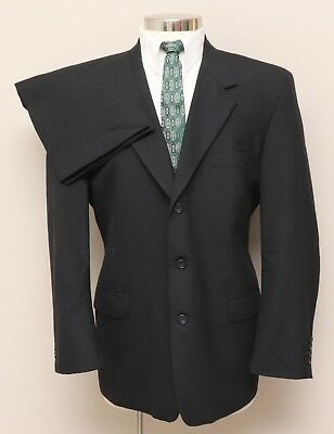 Vintage Mens 44R Mesler's 2 Piece Black Wool Suit