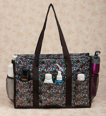 New Oil Cloth over Canvas Waterproof Organizing Utility Tote Travel Bag Zip Top