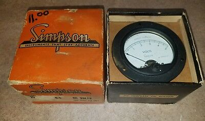 Simpson Model 25 Volt Gauge 1000 Ohms Per Volt New In Box With Clips + More