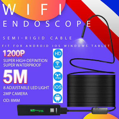 HD 1200P WiFi Endoscope Waterproof 2MP Borescope Rigid Cam Tube for IOS Android