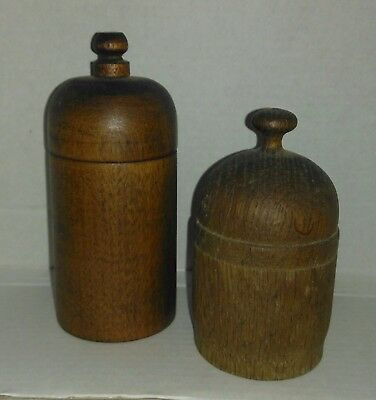 Antique Treen Ware Turned Wood Done Top Containers (2)