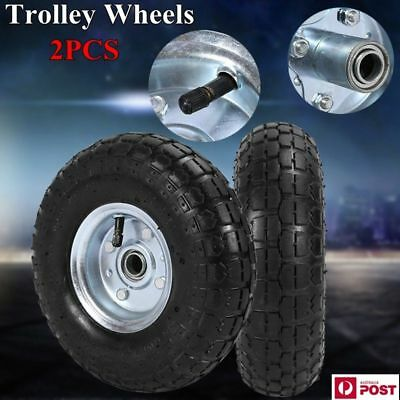 "2X 10"" Puncture Proof Rubber Pneumatic Wheels Trolley Solid Free Tire Tyre 16mm"