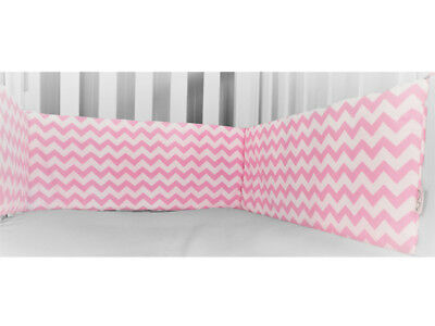 Gooseberry Baby Cot Crib Bumper Cotton Pink & White Chevron 210 x 30 cm
