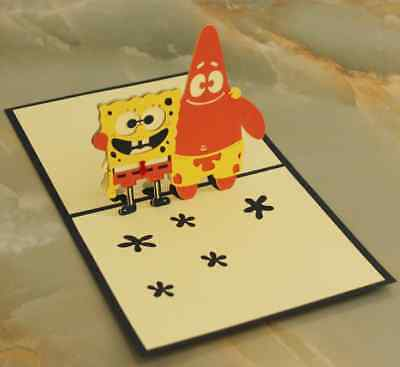 *Sponge Bob With Friend* Pop Up 3D Handmade Greeting Card with Envelope NAVY