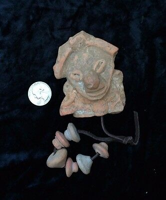 Pre-Columbian Clay Fragment +  Pre-Columbian Clay Spindle Whorl Beads  - Group A