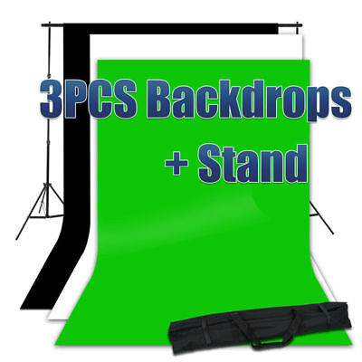 3 Backdrop + Stand Photography Screen 1.8x2.7m Black White Green Background Kit
