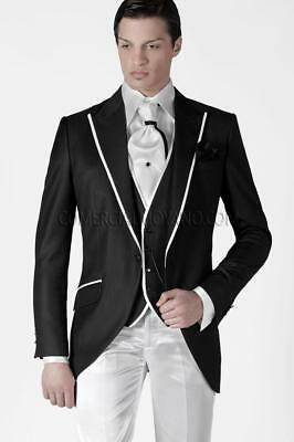 Custom Made Groom Tuxedos Men's Suit Black Groomsman/Best Man Wedding/Prom Suits