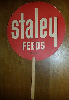 Vintage Advertising Paper Fan - Staley Feeds Agriculture Farm Ephemera Seed Feed