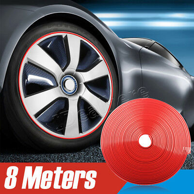 Strip Rubber autocollant red Car Wheel Hub Rim Bord Protector Bague Guard Tire#