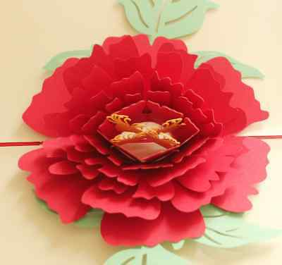 * Peony Flower * Pop Up 3D Handmade Greeting Card with Envelope