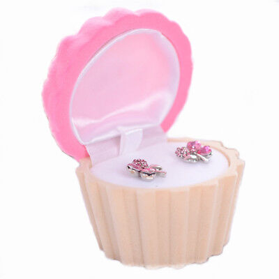 Cake Cup Shape Velvet Jewelry Box Earring Necklace Ring Case Cute Gift for Women