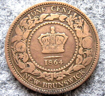 Canada New Brunswick Queen Victoria 1864 One Cent