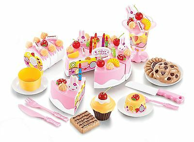 Vinsani Birthday Fruit Cake Childrens Pretend Play Party Set 75Pc 6 Years + Pink