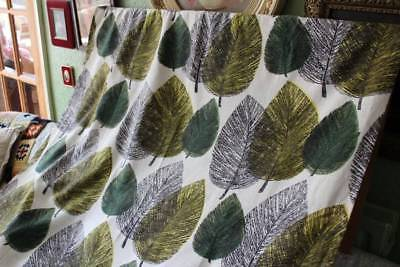 Vintage 1950's True Vintage Single Barkcloth Curtain Leaf Design Autumnal 42x43