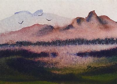 ACEO Original Art Watercolour Painting by Bill Lupton  - View of Craggy Mountain