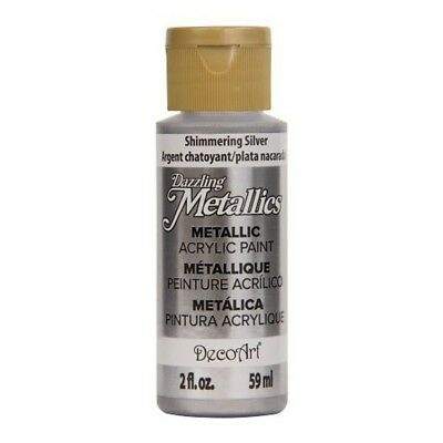 DecoArt Americana Acrylic Metallic Paint Shimmering Silver Suitable For Use New
