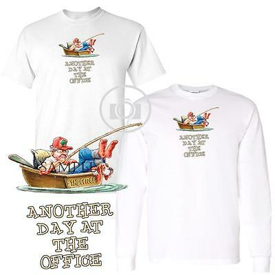 Fisherman Another Day At The Office Fishing Boat Short Long Sleeve White T Shirt