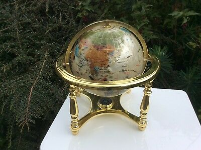 """Lapis globe with compass  semi precious stones and minerals. 12""""tall"""