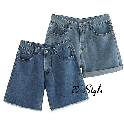 Oversize Crimp Daily Pants Trousers Summer Mini Jeans Shorts Denim High Waisted