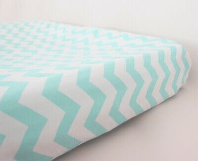 GOOSEBERRY Fitted Change Table Mat Pad Cover Cotton Chevron Blue