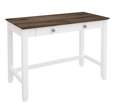 Bridie 2 Drawer White & Wenge Acacia Hardwood Desk - BRAND NEW