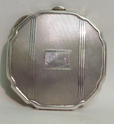 Solid Silver Engine Turned Compact Mirror,w.i Broadway & Co, H/m Birmingham 1946