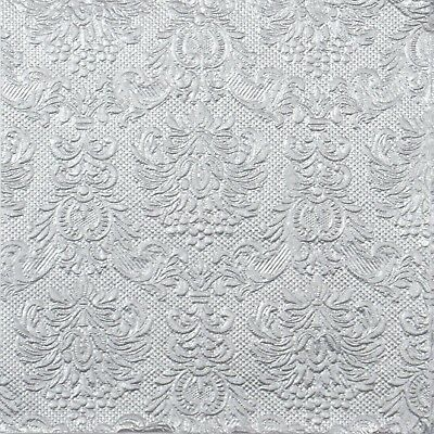 4x Paper Napkins for Decoupage Decopatch Craft -Embossed Elegance Silver