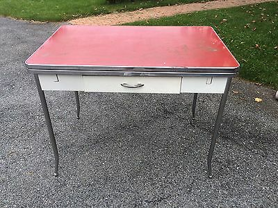Vintage retro kitchen table Red With Working Extensions.