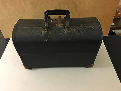 Pandora Black Leather Medical Doctor Veterinarian Bag Case Steampunk Industrial