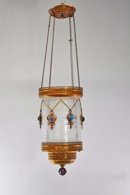 Victorian Brass And Etched Glass Hanging Entry / Hall Candelholder Jeweled