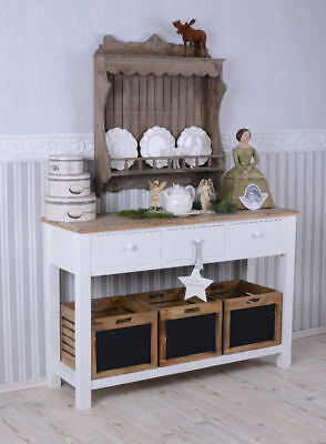 KITCHEN TABLE CONSOLE SIDEBOARD with Drawers WHITE VINTAGE CONSOLE TABLE Wood