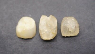 Group Of Three Ancient Egyptian Rock Crystal Beads, Middle Kingdom 1500 Bc