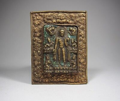 A Bronze Buddha Plaque with Stones Inlay