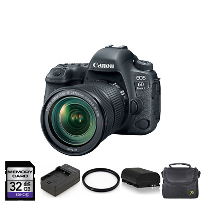 Canon EOS 6D Mark II DSLR Camera with 24-105mm + 2 Batteries, 32GB & More